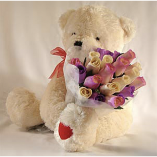 TEDDY BEAR WITH MULTICOLOR ROSES !