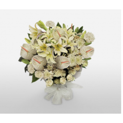 AN ALL WHITE BOUQUET OF FLOWERS FOR MANY OCCASIONS !
