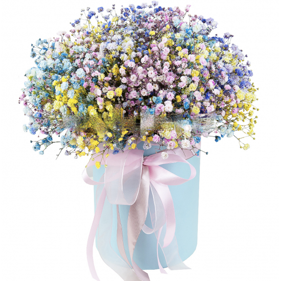 HAT BOX WITH PAINTED BABYS BREATH