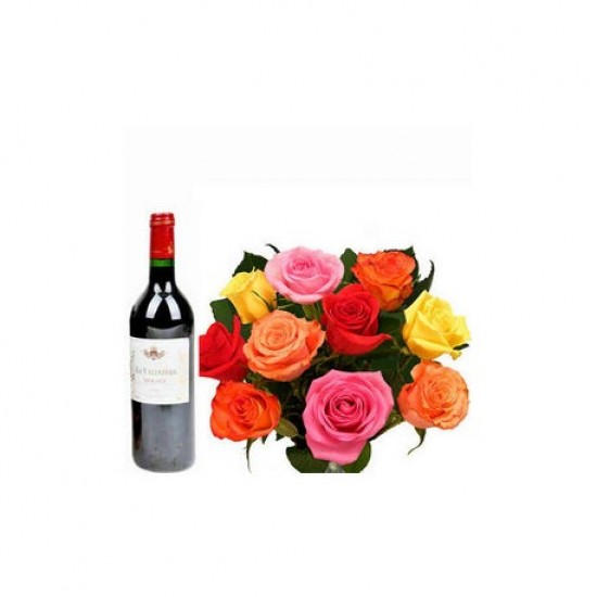 MULTICOLORED ROSES WITH A BOTTLE OF WINE !!