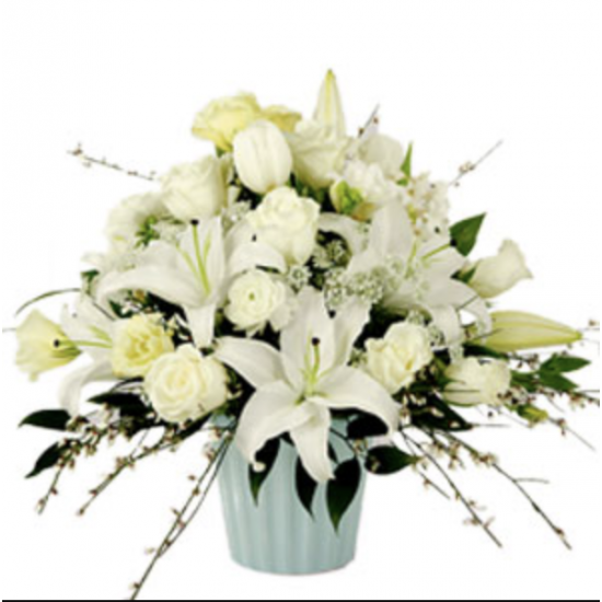 AN ALL WHITE FLOWERS ARRANGEMENT  ! !!